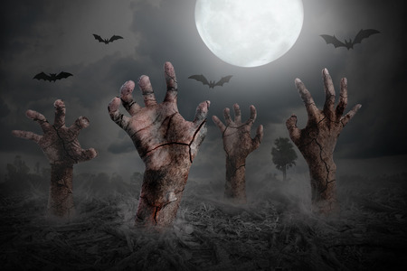 rising dead: Halloween background with zombie hand rising out of the ground