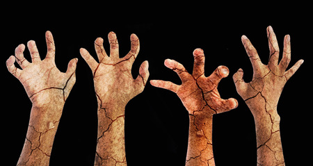 zombie Halloween hands with clipping path Stock Photo