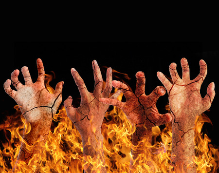 hell: Burning hand from the hell. Stock Photo