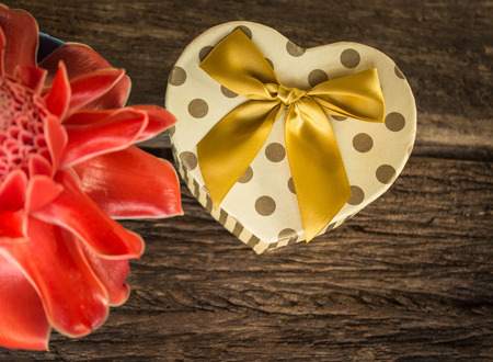 Heart shaped Valentines Day gift box with flower