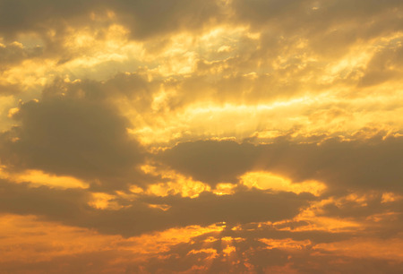 Bright yellow colors sunset sky  Stock Photo