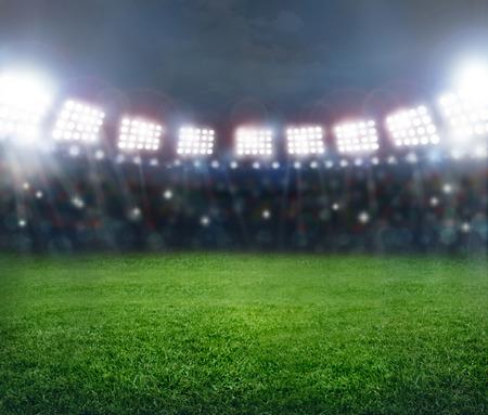 soccer stadium: Green soccer stadium, illuminated field, arena in night