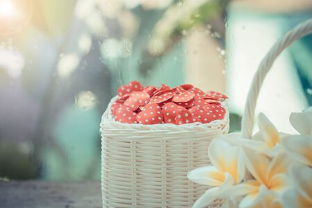 Red hearts in basket ,Valentines Day background. Stock Photo