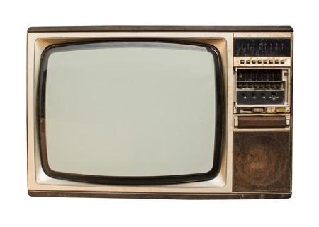ver tv: Old vintage televisión a través de un fondo blanco