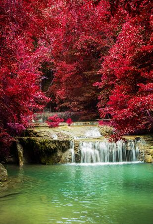 erawan: Erawan Waterfall in Kanchanaburi Province, Thailand Stock Photo