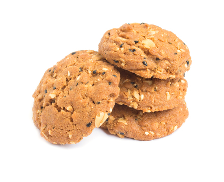 whole grains cookies on white background.
