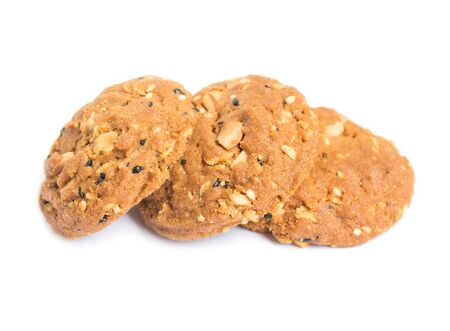 whole grains: whole grains cookies on white background.
