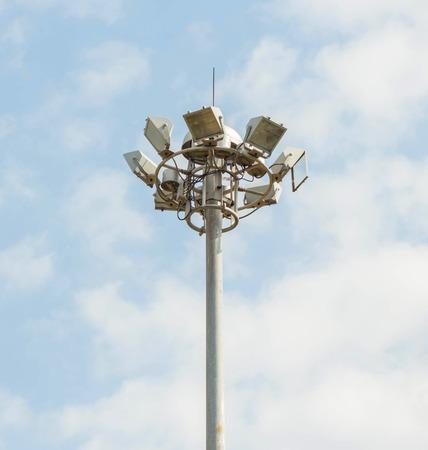 stadium lights: Stadium lights with blue sky. Stock Photo