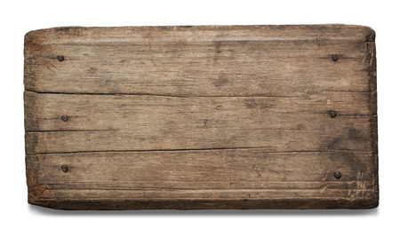 signboard: Old plank of wood isolated on white background with Clipping Path.