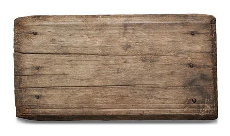 Oude houten plank op een witte achtergrond met uitknippad.