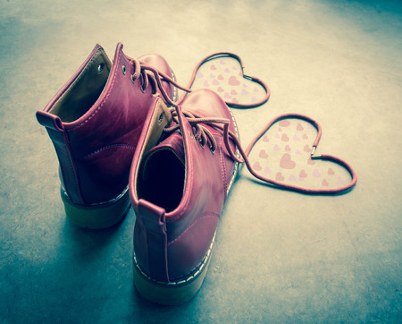 swain: Red shoes with Lovely Heart. Stock Photo