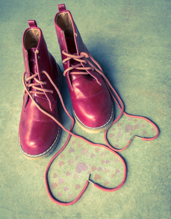 swain: Red shoes with Lovely Heart,Valentine background.