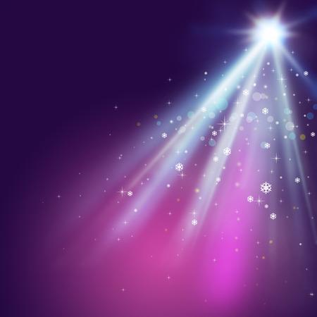 fondo para tarjetas: Purple luces de Navidad de fondo con estrellas y copos de nieve. Foto de archivo