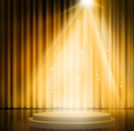 stages: Gold curtains on theater with spotlight.