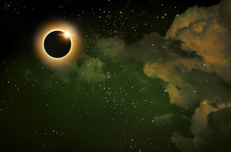 imaginary solar eclipse space with clouds and stars.