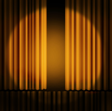 broadway stage: Gold curtains on theater or cinema stage Stock Photo
