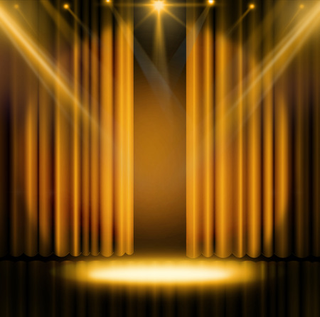 Gold curtains on theater or cinema stage Stock Photo