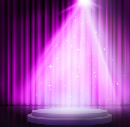 Purple curtains on theater with spotlight.