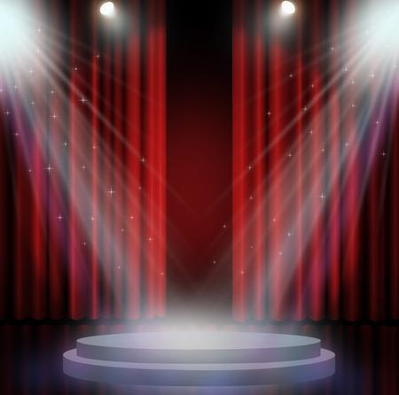 cortinas rojas: cortinas rojas en el teatro con el proyector. Foto de archivo
