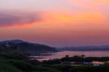 mekong river: sunset in the mountains near Mekong River,Thailand