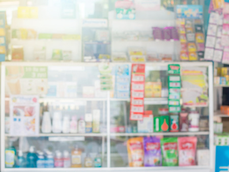 heal sickness: blur some shelves of drug in the pharmacy drugstore