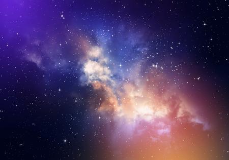 estrellas moradas: Estrellas en el cielo nocturno, nebulosa y la galaxia Foto de archivo