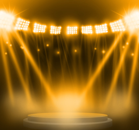 stage: stage spot lighting over yellow background. Stock Photo