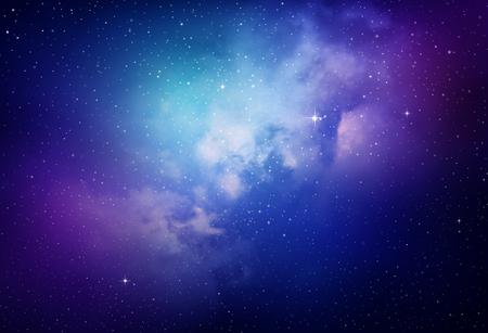 morado: Estrellas en el cielo nocturno, nebulosa y la galaxia Foto de archivo