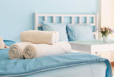White towel in Hotel Room,Room service,Thailand. Stock Photo - 44540201