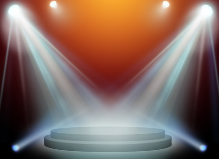 light beams: stage spot lighting over red background. Stock Photo