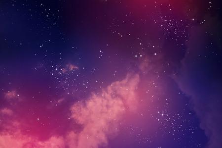 星夜の空、星雲と銀河