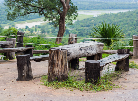 wooden table in the park. Stock Photo