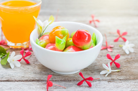 imitation: delectable imitation fruits,Thai dessert. Stock Photo