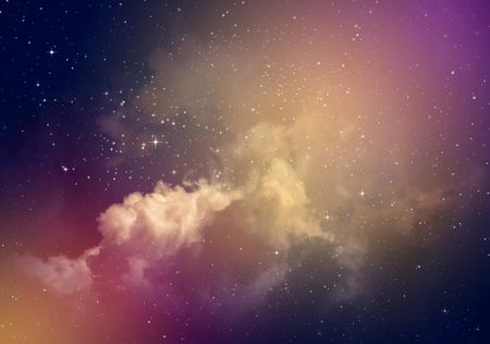 estrellas moradas: Espacio del cielo nocturno con nubes y estrellas.