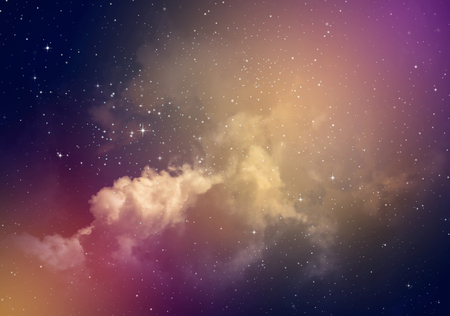 Space of night sky with cloud and stars. Stock Photo