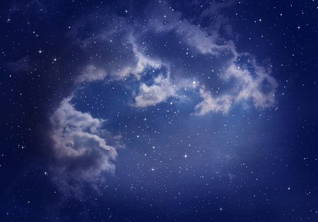 the pleiades: Space of night sky with cloud and stars. Stock Photo