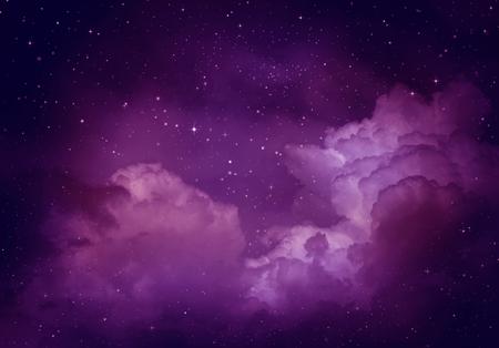 morado: Estrellas en el cielo nocturno, fondo púrpura. Foto de archivo