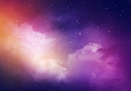 noche estrellada: Estrellas en el cielo nocturno, fondo p�rpura. Foto de archivo