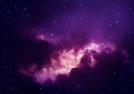 estrellas moradas: Estrellas en el cielo nocturno, fondo púrpura. Foto de archivo