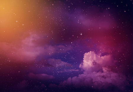 星夜の空、紫背景の。
