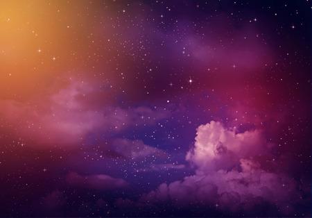 Gwiazdy na nocnym niebie, fioletowym tle.