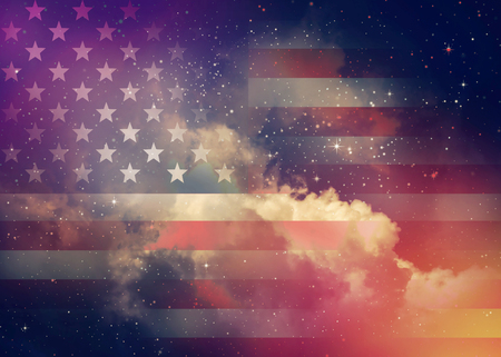 american flags: American flag with night sky background.