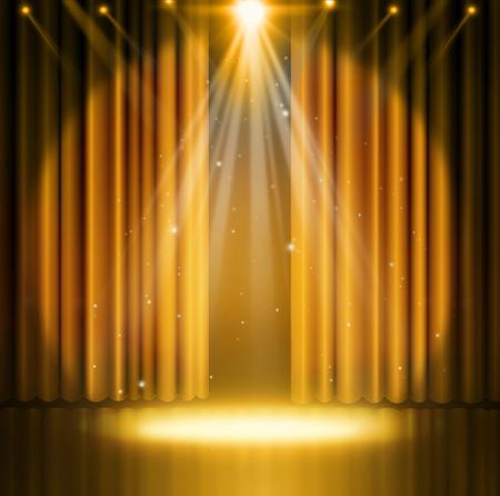 feier: Gold-Vorhänge auf Theater mit Spotlight. Lizenzfreie Bilder