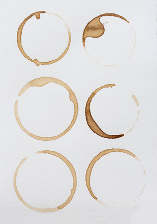stain: Collection stains of coffee on white background.