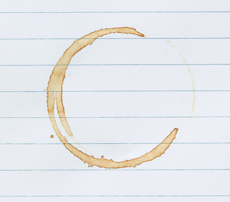 coffee stains: coffee stain on notebook page.