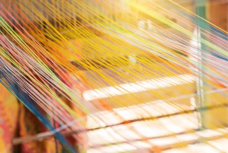 loom: closeup image of weaving Loom, details. Stock Photo