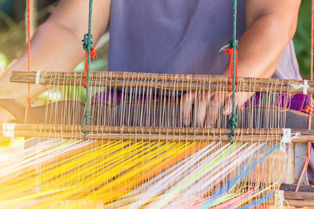 insertion: closeup image of weaving Loom, details. Stock Photo