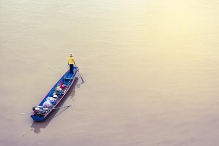 mekong river: Fishermen in the boat at Mekong River.