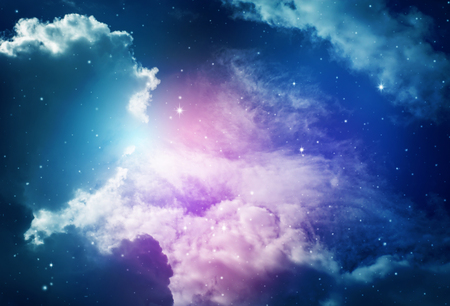 Space of night sky with cloud and stars