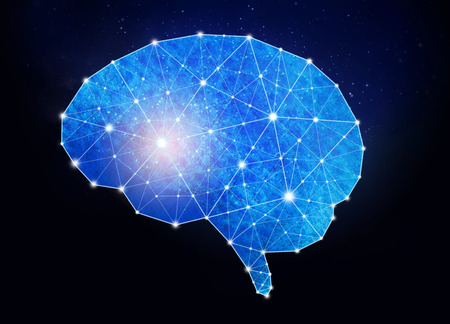 Concept of human intelligence with human brain  inside the universe background.